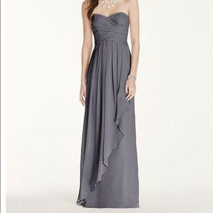 Grey strapless bridesmaid dress - David's Bridal
